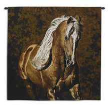 Golden Boy by Robert Duncan | Woven Tapestry Wall Art Hanging | Tan Brown Palomino Horse Equestrian Artwork | 100% Cotton USA Size 53x53 Wall Tapestry