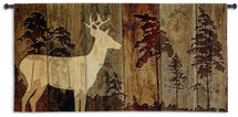 Woodburn Lodge | Woven Tapestry Wall Art Hanging | Rustic Silhouetted Cabin Decor | 100% Cotton USA Size 51x26 Wall Tapestry