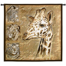 Safari by Chad Barrett | Woven Tapestry Wall Art Hanging | African Wildlife Portraits in Brown Tones | 100% Cotton USA Size 53x52 Wall Tapestry
