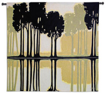 Arbor Creek I by Norman Wyatt   Woven Tapestry Wall Art Hanging   Majestic Aspen Trees Mirrored Silhouette Artwork   100% Cotton USA Size 53x52 Wall Tapestry