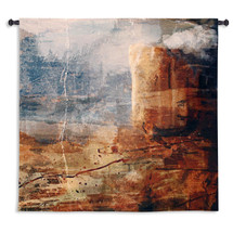 Transition | Woven Tapestry Wall Art Hanging | Rustic Abstract Jagged Cliff Landscape | 100% Cotton USA Size 53x53 Wall Tapestry