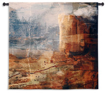 Transition | Woven Tapestry Wall Art Hanging | Rustic Abstract Jagged Cliff Landscape | 100% Cotton USA Size 35x35 Wall Tapestry