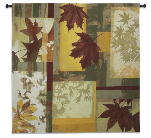 Saffron | Woven Tapestry Wall Art Hanging | Warm Autumn Toned Contemporary Leaf Design | 100% Cotton USA Size 53x53 Wall Tapestry