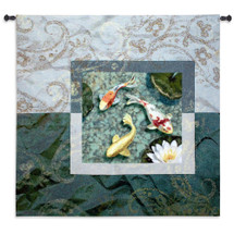 Flirtation | Woven Tapestry Wall Art Hanging | Serene Koi Pond with Lily Pads | 100% Cotton USA Size 53x53 Wall Tapestry