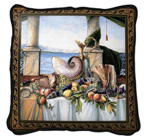 Promessa d'Estate Textured Hand Finished Elegant Woven Throw Pillow Cover 100% Cotton Made in the USA Size 27 x 27 Pillow