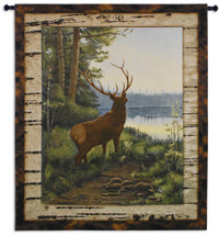Elk by Oliver Kemp | Woven Tapestry Wall Art Hanging | Majestic Elk Forest Lake View Cabin Artwork | 100% Cotton USA Size 64x53 Wall Tapestry