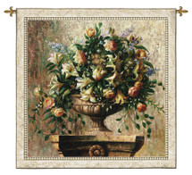 Sonata By Welby - Woven Tapestry Wall Art Hanging - Still Life Impressionists Stone Pedestal Urn Filled Beautiful Blooms Of Lilies-Of-The-Valley Coral Roses Blue Lilacs - 100% Cotton - USA Wall Tapestry