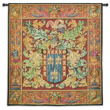 Regal Crest | Woven Tapestry Wall Art Hanging | Ornate Historic French Coat of Arms | 100% Cotton USA Size 73x63 Wall Tapestry