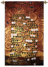 Stoclet Frieze Lebensbaum by Gustav Klimt – Stoclet Frieze Series | Woven Tapestry Wall Art Hanging | Abstract Tree of Life Mosaic with Rich Golds | 100% Cotton USA Size 86x52 Wall Tapestry