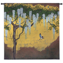 Wisteria with House Finch by Joanna Charlotte   Woven Tapestry Wall Art Hanging   Bird among Tree Branches on Gold Lurex Background   100% Cotton USA Size 53x53 Wall Tapestry