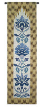 Ikat Henna by Sarah Simpson | Woven Tapestry Wall Art Hanging | Geometric Botanical Vertical Pattern with Bright Colors | 100% Cotton USA Size 52x16 Wall Tapestry