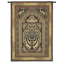 Imperial Ornament   Woven Tapestry Wall Art Hanging   Luxurious Intricate Golden Weaving Filigree Design   100% Cotton USA Size 108x80 Wall Tapestry