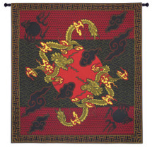 Double Dragon | Woven Tapestry Wall Art Hanging | Deep Red and Gold Symmetric Chinese Artwork | 100% Cotton USA Size 56x53 Wall Tapestry