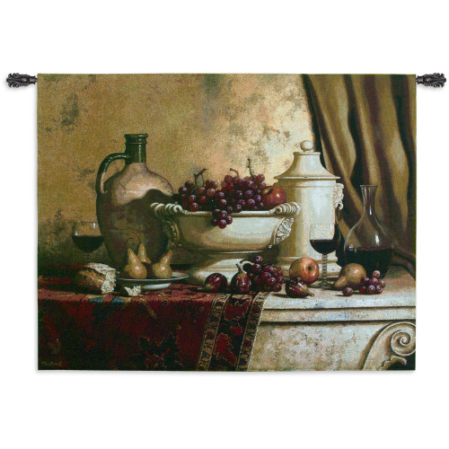 Italian Feast by Loran Speck | Woven Tapestry Wall Art Hanging | Fruit and Wine Still Life Rembrandt Style | 100% Cotton USA Size 66x53 Wall Tapestry