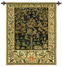 Tree of Life Midnight Blue by William Morris | Arts and Crafts Style Woven Tapestry Wall Art Hanging | Eternal Life Heaven Design in Indigo | 100% Cotton USA Size 53x42 Wall Tapestry