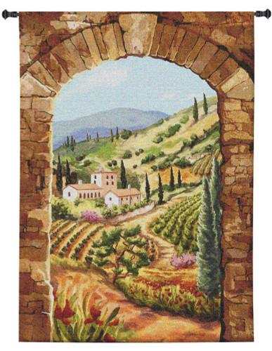 Tuscan Vineyard by Brad Simpson | Woven Tapestry Wall Art Hanging | Lush Italian Villa Hillside | 100% Cotton USA Size 58x44 Wall Tapestry