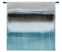 Nordic Horizon by Heather McAlpine | Woven Tapestry Wall Art Hanging | Minimalist Abstract Landscape in Cool Tones | 100% Cotton USA Size 53x53 Wall Tapestry