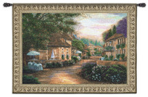 Plenitude de Charme by Betsy Brown | Woven Tapestry Wall Art Hanging | Lush European Villa Cobblestone Street Scene | 100% Cotton USA Size 53x38 Wall Tapestry