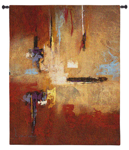 Golden Light | Woven Tapestry Wall Art Hanging | Fiery Industrial Decontructed Abstract Design | 100% Cotton USA Size 60x48 Wall Tapestry
