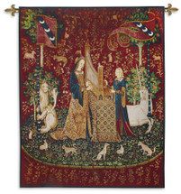 The Lady and the Unicorn - Smell | Woven Tapestry Wall Art Hanging | Historic Middle Ages Tapestry Reproduction | 100% Cotton USA Size 65x53 Wall Tapestry