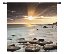 Nordic Sunset | Woven Tapestry Wall Art Hanging | Nordic North Ocean Photography Coastal Sunset Artwork | 100% Cotton USA Size 53x53 Wall Tapestry