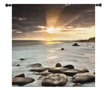 Nordic Sunset | Woven Tapestry Wall Art Hanging | Nordic North Ocean Photography Coastal Sunset Artwork | 100% Cotton USA Size 60x60 Wall Tapestry