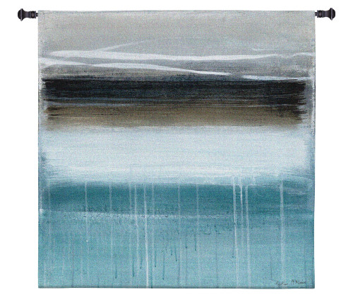 Nordic Horizon by Heather McAlpine | Woven Tapestry Wall Art Hanging | Minimalist Abstract Landscape in Cool Tones | 100% Cotton USA Size 60x60 Wall Tapestry