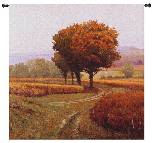 Charmony | Woven Tapestry Wall Art Hanging | Pathway through Serene Autumn Landscape | 100% Cotton USA Size 31x31 Wall Tapestry