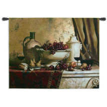 Italian Feast by Loran Speck - Woven Tapestry Wall Art Hanging for Home & Office Decor-Like Rembrandt Like Still Life Pattern Jug Vase Grapes Vineyard Feast Harvest Theme-100% Cotton-USA 42X53 Wall Tapestry