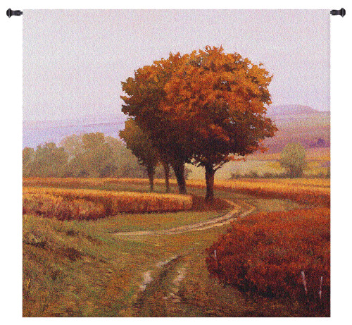 Charmony   Woven Tapestry Wall Art Hanging   Pathway through Serene Autumn Landscape   100% Cotton USA Size 60x60 Wall Tapestry
