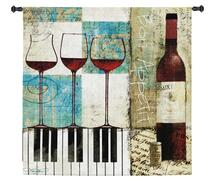 Bon Appetit by Keith Mallett | Woven Tapestry Wall Art Hanging | Wine And Piano Contemporary Collage | 100% Cotton USA Size 50x50 Wall Tapestry