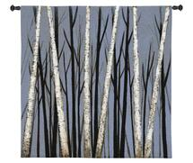 Birch Shadows by Eve | Woven Tapestry Wall Art Hanging | Birch Trees Casting Intricate Shadows | 100% Cotton USA Size 31x31 Wall Tapestry