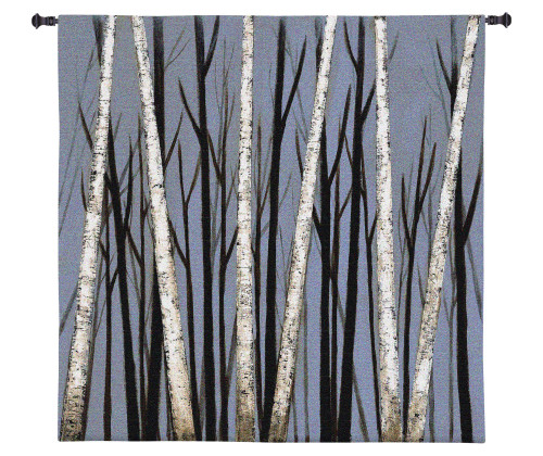 Birch Shadows by Eve | Woven Tapestry Wall Art Hanging | Birch Trees Casting Intricate Shadows | 100% Cotton USA Size 49x39 Wall Tapestry