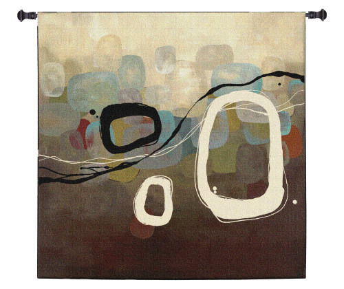 The Three by Laurie Maitland | Woven Tapestry Wall Art Hanging | Subtle Contemporary Rounded Square Design | 100% Cotton USA Size 60x60 Wall Tapestry