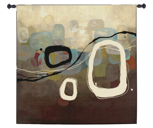 The Three by Laurie Maitland | Woven Tapestry Wall Art Hanging | Subtle Contemporary Rounded Square Design | 100% Cotton USA Size 31x31 Wall Tapestry