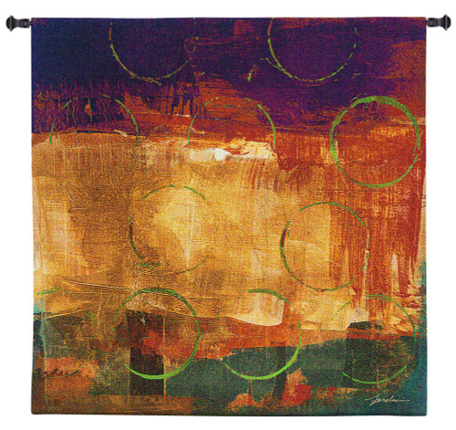 Mixed Messages II by Liz Jardine | Woven Tapestry Wall Art Hanging | Bright Jewel Toned Abstract Collage | 100% Cotton USA Size 31x31 Wall Tapestry