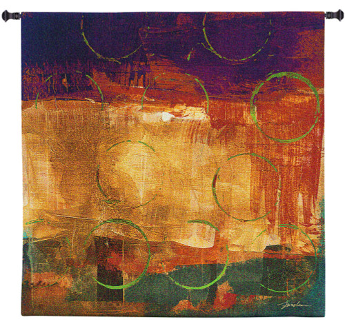 Mixed Messages II by Liz Jardine | Woven Tapestry Wall Art Hanging | Bright Jewel Toned Abstract Collage | 100% Cotton USA Size 50x50 Wall Tapestry