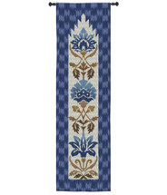Ikat Indigo by Sarah Simpson | Woven Tapestry Wall Art Hanging | Geometric Botanical Vertical Pattern with Royal Blues | 100% Cotton USA Size 88x25 Wall Tapestry