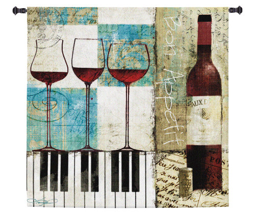 Bon Appetit by Keith Mallett | Woven Tapestry Wall Art Hanging | Wine And Piano Contemporary Collage | 100% Cotton USA Size 31x31 Wall Tapestry