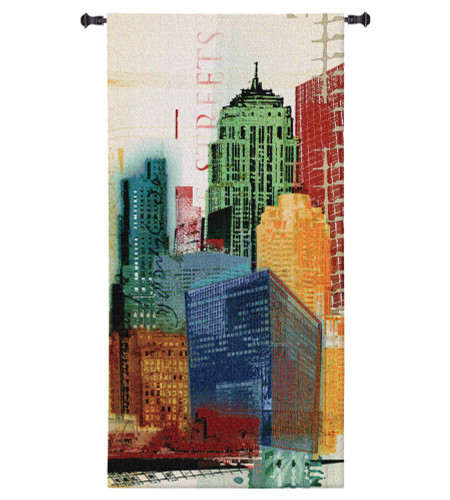 Urban Style II by Noah Li-Leger | Woven Tapestry Wall Art Hanging | Vibrant Abstract Towering Industrial Landscape | 100% Cotton USA Size 51x26 Wall Tapestry