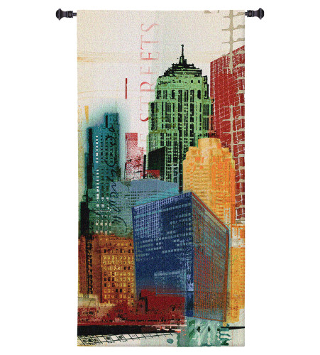Urban Style II by Noah Li-Leger | Woven Tapestry Wall Art Hanging | Vibrant Abstract Towering Industrial Landscape | 100% Cotton USA Size 62x31 Wall Tapestry