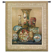 Elkington's Cloisonne | Woven Tapestry Wall Art Hanging | East Asian Themed Fine Cloisonne Dish Ensemble | 100% Cotton USA Size 60x53 Wall Tapestry