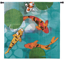 Lucky Koi by Tandi Venter | Woven Tapestry Wall Art Hanging | Colorful Vibrant Koi Pond with Water Lilies | 100% Cotton USA Size 31x31 Wall Tapestry