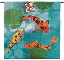 Lucky Koi by Tandi Venter | Woven Tapestry Wall Art Hanging | Colorful Vibrant Koi Pond with Water Lilies | 100% Cotton USA Size 50x50 Wall Tapestry