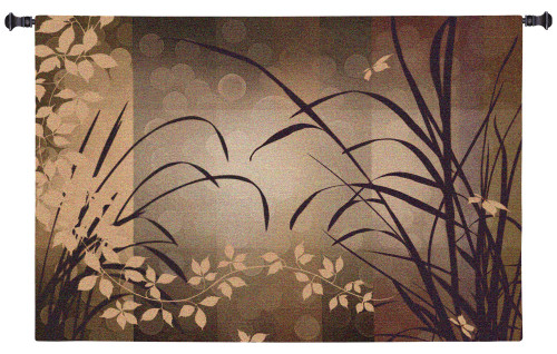 Celebrate Elegance | Woven Tapestry Wall Art Hanging | Contemporary Earthy Silhouetted Floral Design | 100% Cotton USA Size 44x29 Wall Tapestry