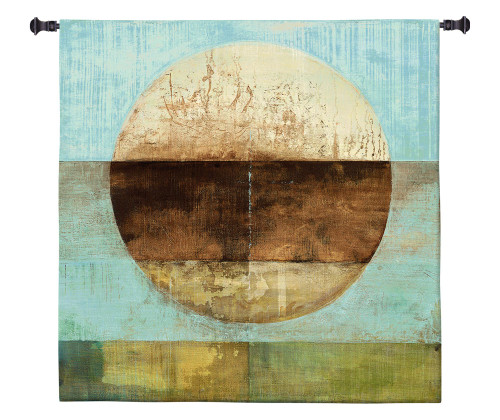 The Gathering Shore by Heather Ross | Woven Tapestry Wall Art Hanging | Rustic Abstract Landscape Artwork | 100% Cotton USA Size 31x31 Wall Tapestry