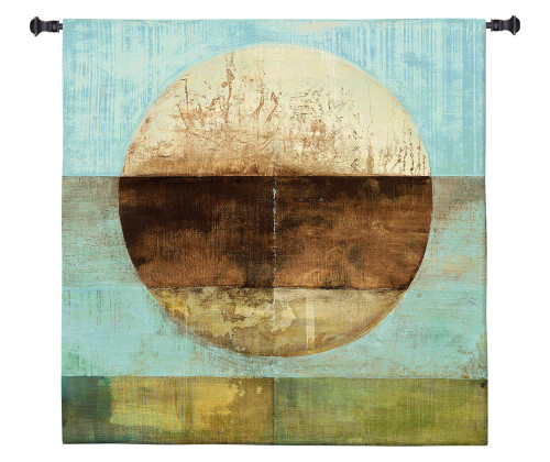 The Gathering Shore by Heather Ross | Woven Tapestry Wall Art Hanging | Rustic Abstract Landscape Artwork | 100% Cotton USA Size 53x53 Wall Tapestry