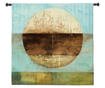 The Gathering Shore by Heather Ross | Woven Tapestry Wall Art Hanging | Rustic Abstract Landscape Artwork | 100% Cotton USA Size 60x60 Wall Tapestry