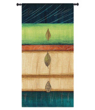Springing Leaves I by Laurie Fields | Woven Tapestry Wall Art Hanging | Contemporary Vertical Leaf Collage | 100% Cotton USA Size 34x17 Wall Tapestry
