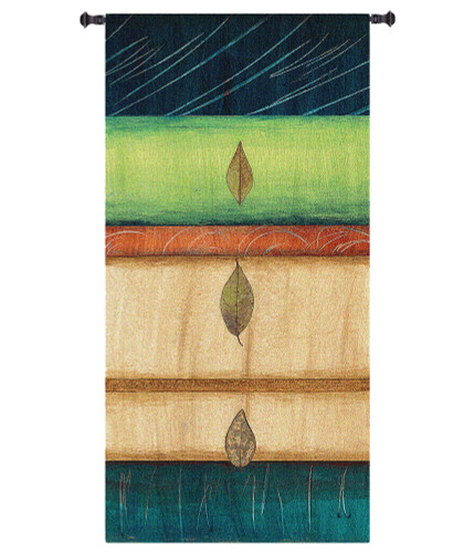 Springing Leaves I by Laurie Fields | Woven Tapestry Wall Art Hanging | Contemporary Vertical Leaf Collage | 100% Cotton USA Size 52x26 Wall Tapestry